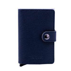 cartera antirrobo piel grabada azul marino