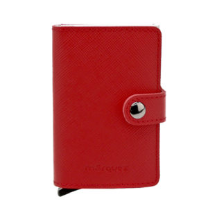 cartera antirrobo piel grabada roja