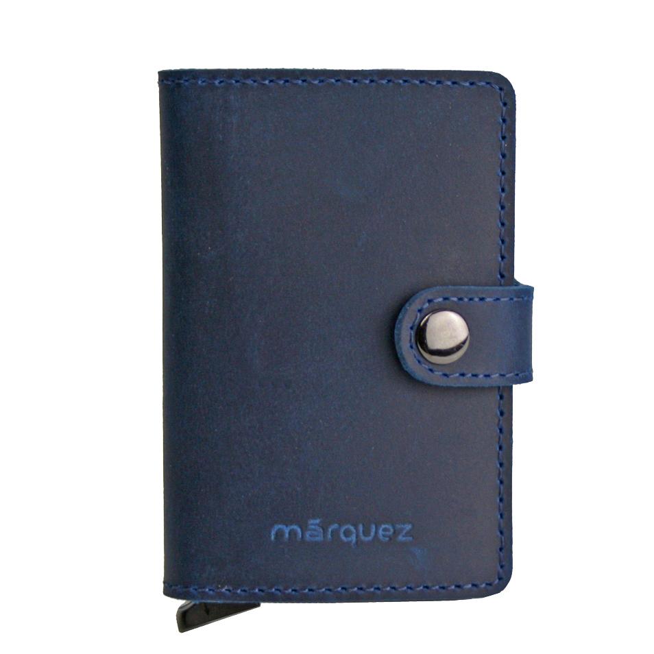 cartera minimalista de piel azul marino