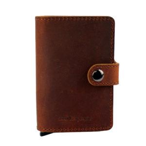cartera minimalista de piel marron
