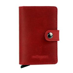 cartera minimalista de piel roja