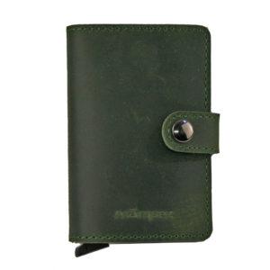 cartera minimalista de piel verde